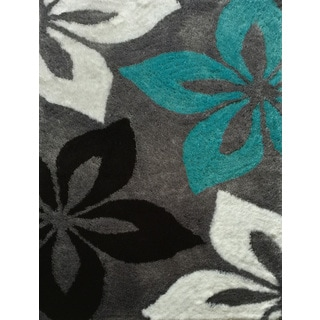 Rug Addiction Hand Tufted Polyester Turquoise And Brown
