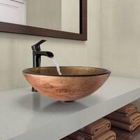 VIGO Cappuccino Swirl Glass Vessel Bathroom Sink and Niko Faucet Set in Antique Rubbed Bronze Finish