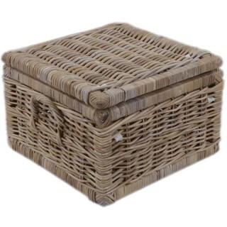 Woven Grass Grey Rectangular Lidded Storage Baskets Set