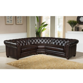 Penn Chocolate Brown Curved Top Grain Leather Sectional