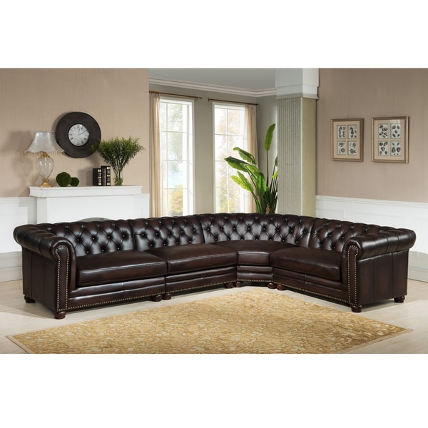 Bowie Premium Top Grain Brown Tufted Leather Sectional