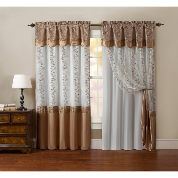 Vcny Maggie Embroidered Curtain Panel With Double Attached