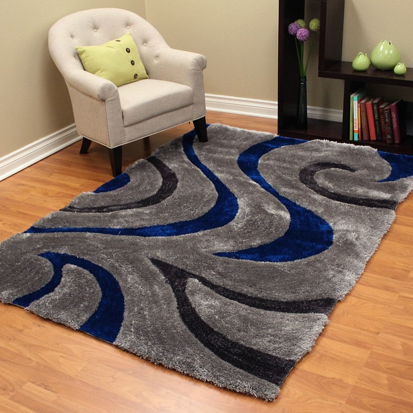3d Shaggy 806 Abstract Wavy Swirl Design Electric Blue