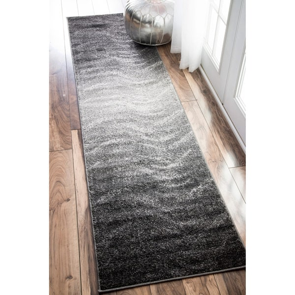Nuloom Contemporary Ombre Waves Grey Runner Rug 2 5 X 9 5