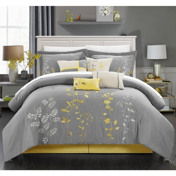 Chic Home 8-piece Fortuno Embroidered Yellow Comforter Set ...