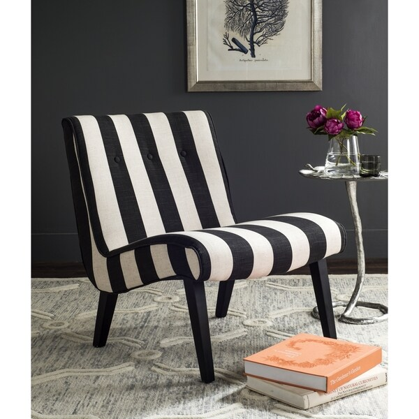 Safavieh En Vogue Dining Matty Black And White Striped: Safavieh Mandell Black/ White Linen Blend Stripe Chair