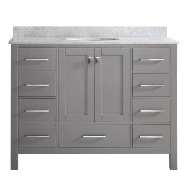 Vinnova gela 48 inch single vanity in grey with carrera - 48 inch white bathroom vanity with top ...