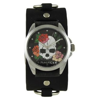 Nemesis Black Skull and Roses Watch with Faded Black Ring Leather Cuff Band