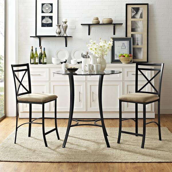 Cheap Glass Dining Room Sets: Dorel Living Valerie 3-piece Counter Height Dining Set