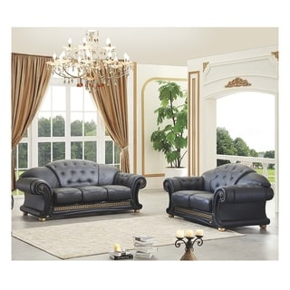 Wondrous Luca Home Black Italian Leather Sofa And Loveseat Set Best Pabps2019 Chair Design Images Pabps2019Com