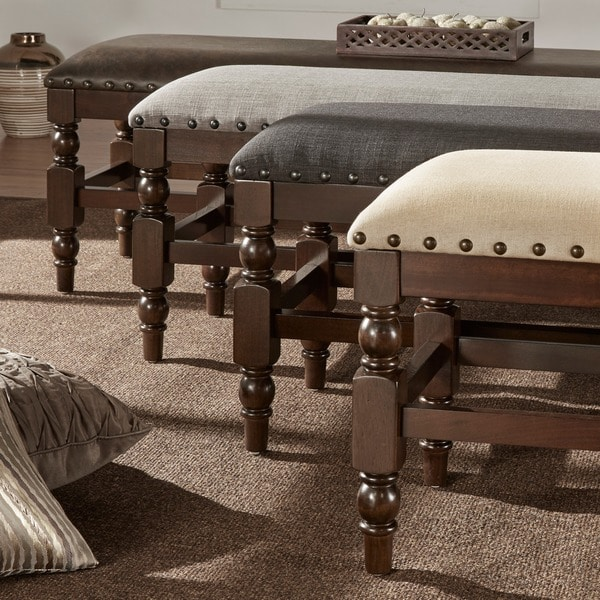 Flatiron Burnished Dark Oak Nailhead Trim Dining Bench by iNSPIRE Q Classic