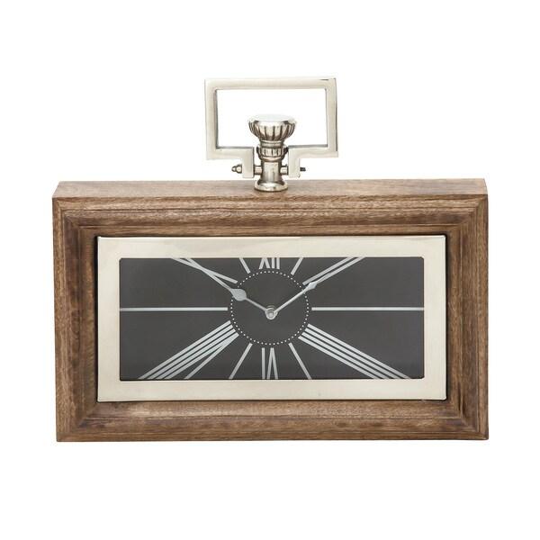 Brown Wood Stain Steel Table Clock