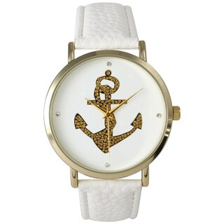 Olivia Pratt Gold Anchor Leather Watch