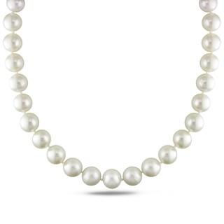 Miadora Signature Collection 14k White Gold Cultured South Sea White Pearl and Diamond Accent Strand Necklace (13-15 mm)