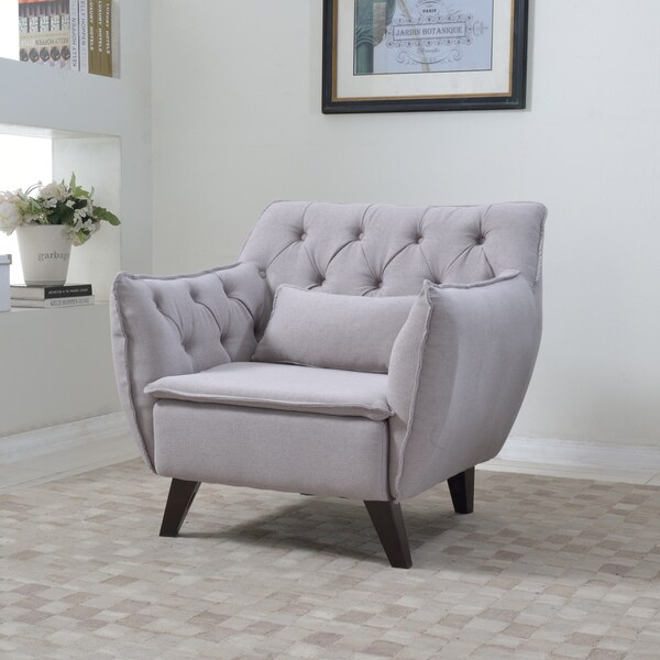 Madrid Taupe Beige Ultra Modern Living Room Furniture 3: Mid Century Modern Tufted Linen Fabric Accent Living Room