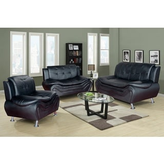European Alicia Red Black 3 Piece Modern Sofa Set