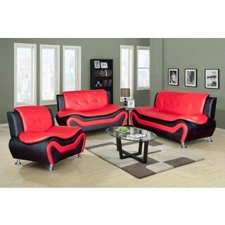 Christina Red Black 2 Tone Bonded Leather Modern Sofa Set 15879674 Overstock Com Shopping Big Discounts On Living Room Sets