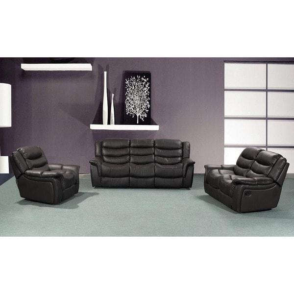 hudson black reclining sofa set of 3 18299200. Black Bedroom Furniture Sets. Home Design Ideas