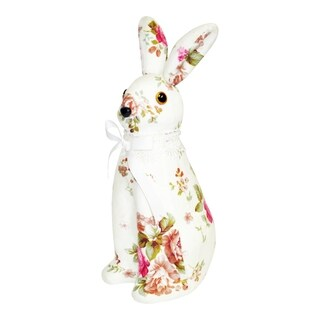 Spring Collection 12-inch Floral Print Bunny