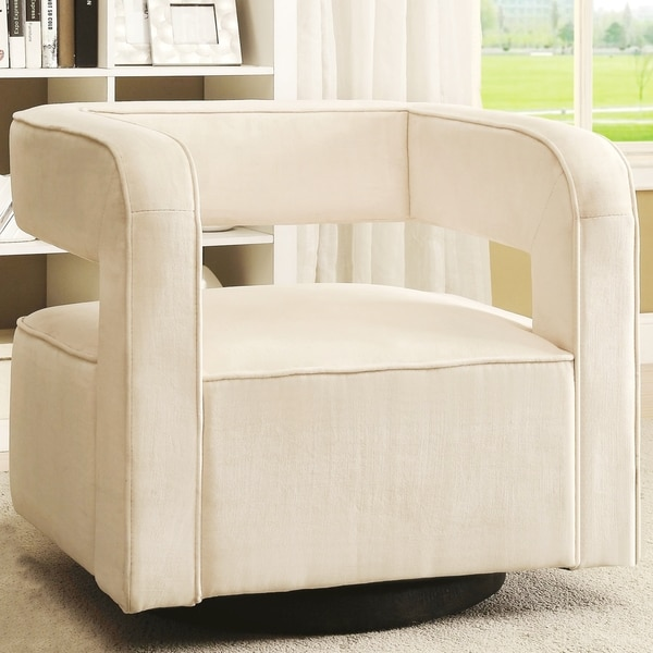 Galactica Art Deco Floating Design Upholstered Swivel