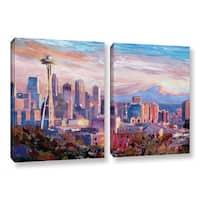 ArtWall Marcus/Martina Bleichner's Seattle Skyline with Space Needle, 2 Piece Gallery Wrapped Canvas Set