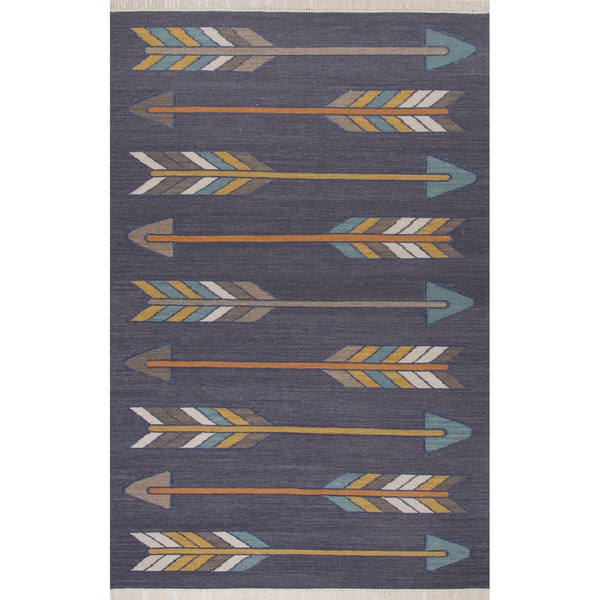 Flatweave Tribal Pattern Dark Gray Yellow Wool And Cotton