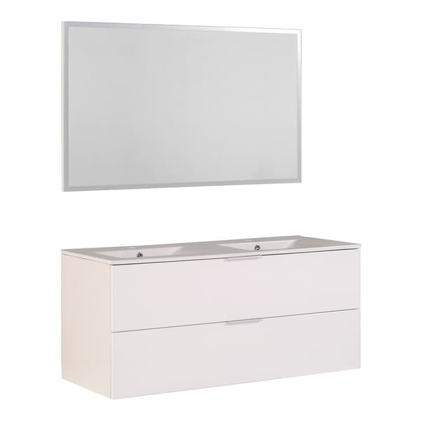Luxy 48 Inch Double Vanity With 2 Ceramic Sinks And Mirror