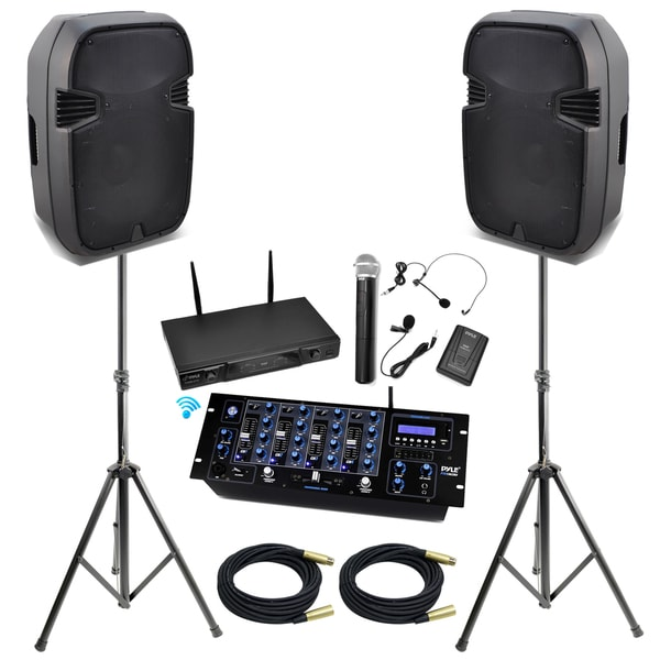 pyle kthsp490 15inch bluetooth dj pa speaker system with mixer and wireless mic speakers stand. Black Bedroom Furniture Sets. Home Design Ideas