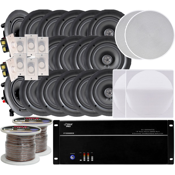 New Pyle 8 Channel 8000w 8 Room In Ceiling 16 Speaker