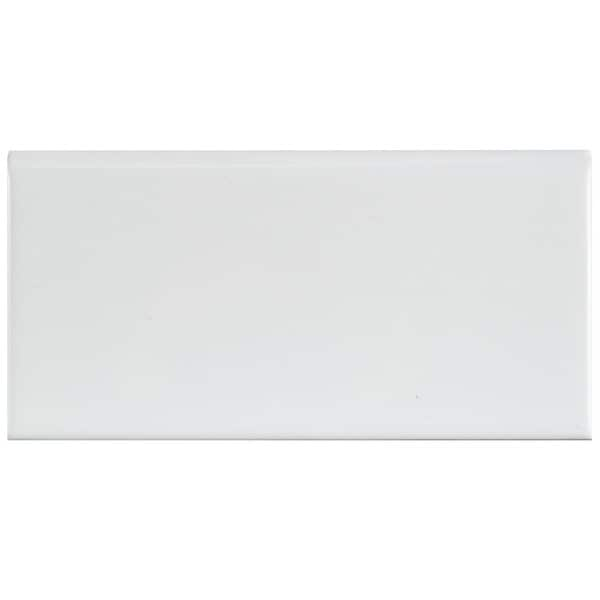 Somertile 3x6 Inch Malda Subway Glossy White Ceramic