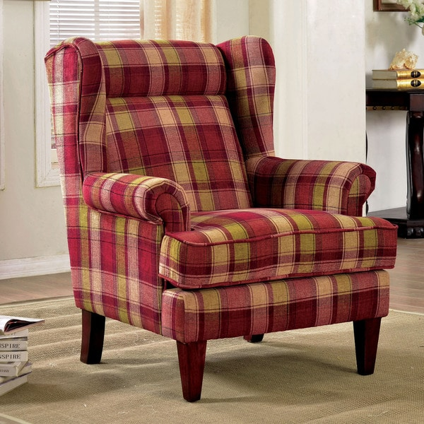 Living Room Chairs For Sale: Furniture Of America Shermin Traditional Plaid Patterned