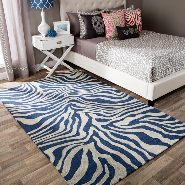 Andrew Charles Snow Leopard Collection Zebra Navy Area Rug