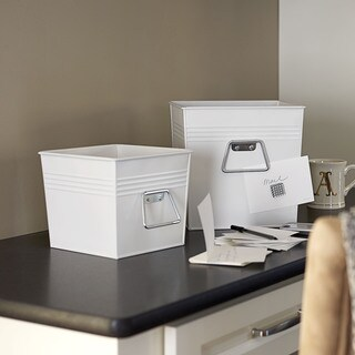 Household Essentials White Decorative Metal Bins (Set of 2)
