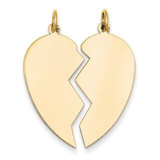 Versil 14k Yellow Gold 2-piece Heart Charm