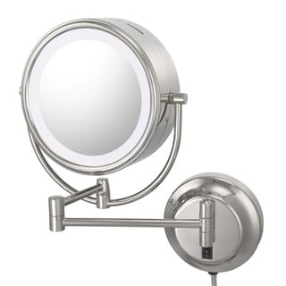 8 5 In W Round Brass Led Wall Mount Magnifying Mirror In