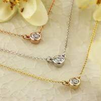 Auriya 14k Gold 1/4ct TDW Round Diamond Bezel Solitaire Necklace