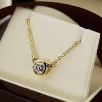 Auriya 14k Gold 1/2ct TDW Bezel Set Round Solitaire Diamond Necklace