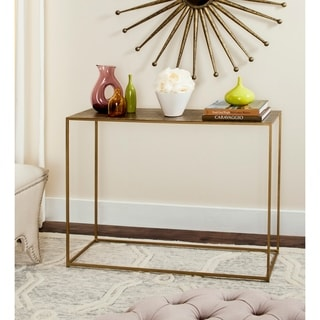 Quatrefoil Goldtone Metal And Glass Sofa Table 16478583