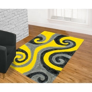 Donnie Ann Shaggy Abstract Wavy Swirl Yellow Area Rug 5