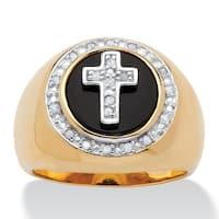 14k Gold over Silver Men's 1/10ct TDW Diamond and Bezel-set Onyx Halo Cross Ring
