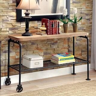 Furniture of America Galbus Industrial Antique Black Wood Metal 1-shelf Sofa Table