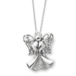 Versil Sterling Silver Cubic Zirconia Antique Angel Of Strength Necklace image