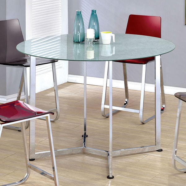 furniture of america miellis contemporary round glass top