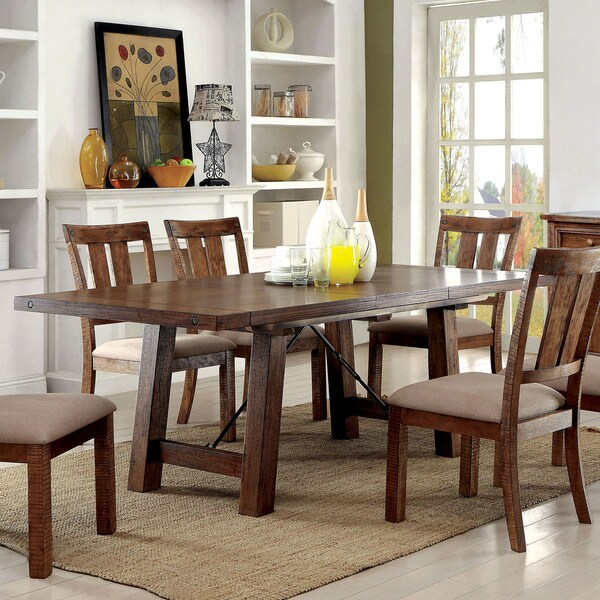 Dining Tables Country Style: Furniture Of America Polson Country Style Medium Oak