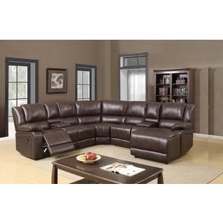 Porsche Chocolate Brown Italian Leather Sectional Sofa