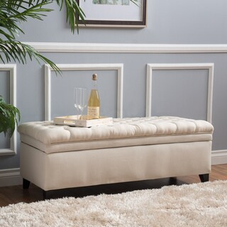 Christopher Knight Home Hastings Tufted Fabric Storage Ottoman Bench