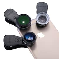 Mpow MLens V1 Professional Clip-on Lens Kit 180 Degree Fisheye + 0.36x Wide Angle Lens for iPhone Samsung etc - Black