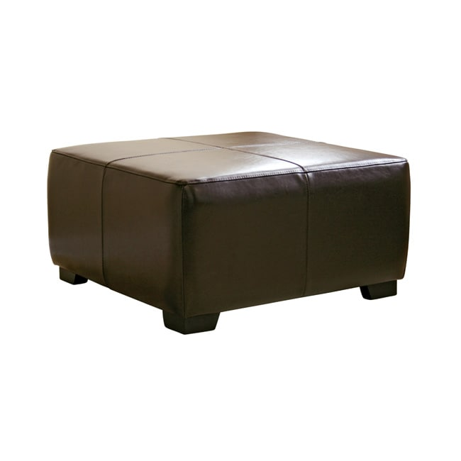 Square Dark Brown Bi Cast Leather Ottoman 1015446