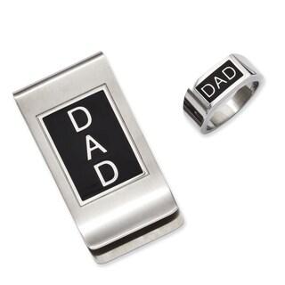 Versil Stainless Steel Black Enamel Dad Money Clasp and Ring Set
