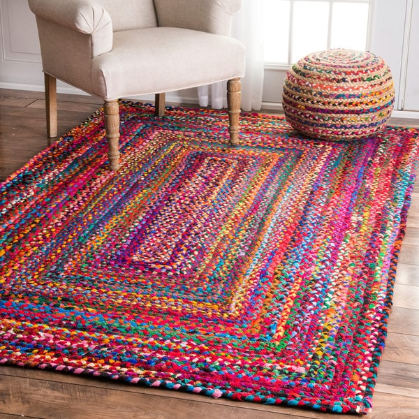 Pink Moroccan Rug nuLOOM Casual Handmade Braided Cotton Multi Rug (5' x 8 ...